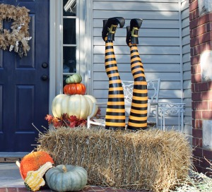Halloween decorations witch legs hay bale halloween decorations porches seasonal holiday decor | VarageSale